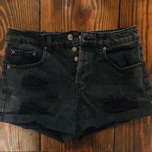 Forever 21 Light Wash Black Jean Shorts